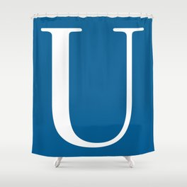 Serif U. White on Blue. Shower Curtain