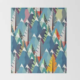 Mountains and Spruces Pattern Throw Blanket