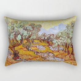 Van Gogh - Olive Trees with yellow sky and sun Rectangular Pillow