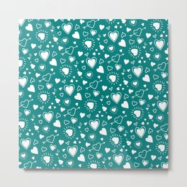 Teal Hearts and Hearts and Hearts! Metal Print