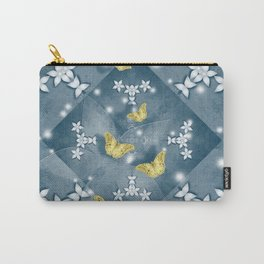 Butterflies and mandala with flowers in blue Carry-All Pouch