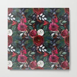 Pink red green watercolor boho floral pattern Metal Print