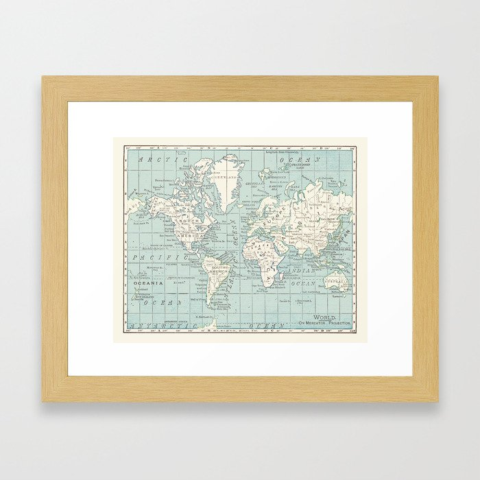 World Map In Blue And Cream Framed Art Print By Catherineholcombe