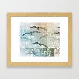 Free Like A Bird Seagull Mixed Media Art Framed Art Print