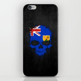 Flag of Turks and Caicos on a Chaotic Splatter Skull iPhone Skin