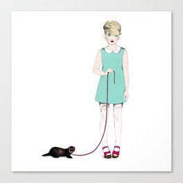 The girl with the ferret Canvas Print