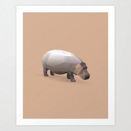 Geometric Hippo - Modern Animal Art Art Print