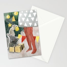 Christmas tree decoration and nice mouses Stationery Cards