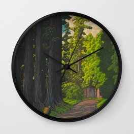 Vintage Japanese Woodblock Print Kawase Hasui Mystical Japanese forest Tall Green Trees Wall Clock