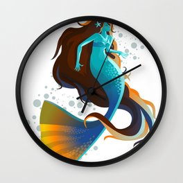 colorful mermaid swimming Wall Clock