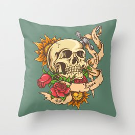 Skull and Sword Throw Pillow