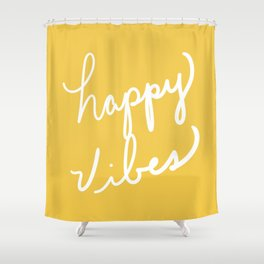 Happy Vibes Yellow Shower Curtain