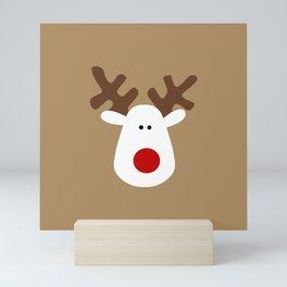 Christmas Reindeer-Brown Mini Art Print