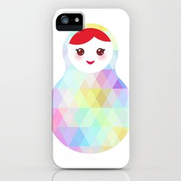 Russian doll matryoshka with bright rhombus on white background, rainbow pastel colors iPhone Case