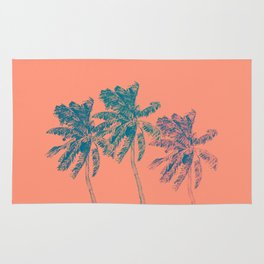 Neon Palm Trees in Coral Rug