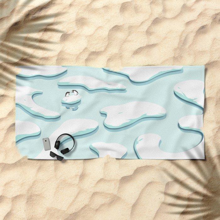 Arguing Penguins Beach Towel