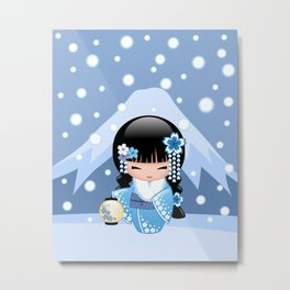 Japanese Winter Kokeshi Doll at Blue Mountain Metal Print