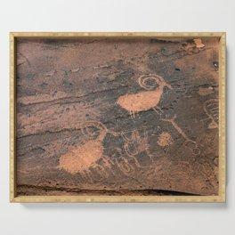 Desert Rock Art - Petroglyphs - II Serving Tray