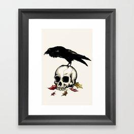 Raven Skull Poe Gothic Crow Framed Art Print