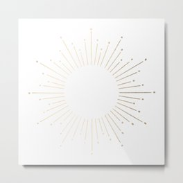 Simply Sunburst in White Gold Sands on White Metal Print