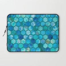 Blue aqua geometric hexagonal elegant & luxury pattern Laptop Sleeve