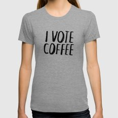 I Vote Coffee LARGE Tri-Grey Womens Fitted Tee