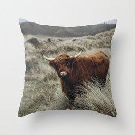 Scottish Highlander l   Dutch dunes   Nature photography print   Wall art Art print Throw Pillow
