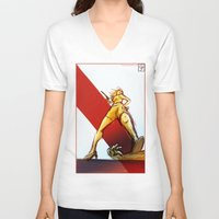 kindle V-neck T-shirts featuring Femme Fatale by garciarts