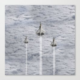 F22 Stealth Fighters Climbing in Clouds Canvas Print