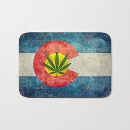 Retro Colorado State flag with leaf - Marijuana leaf that is! Bath Mat