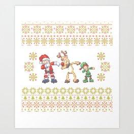 Dabbing Santa Ugly Christmas Shirt Dabbing Reindeer Elf Art Print
