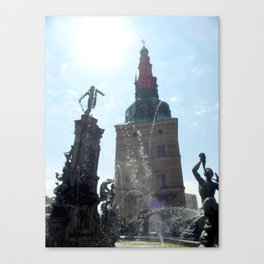 Fountain Outside Frederiksborg Palace  Canvas Print