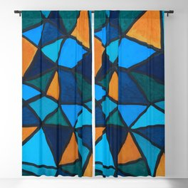 Blues and Gold Triangles Blackout Curtain