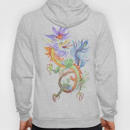 Bright and Vivid Chinese Fire Dragon Vector Hoody