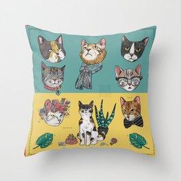 Cats Reunion Throw Pillow