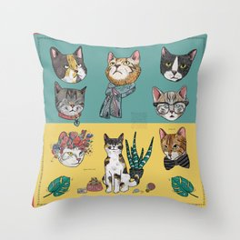 Cats Reunion Throw Pillow