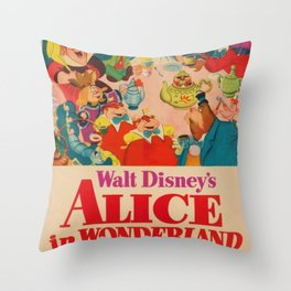 1951 Vintage Alice in Wonderland US Market Film Movie Poster Throw Pillow