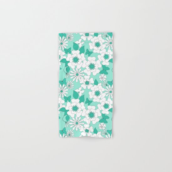 Turquoise floral pattern . Hand & Bath Towel