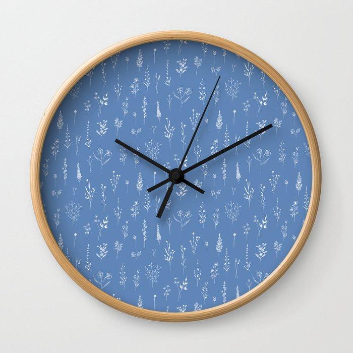 Wildflowers blue Wall Clock