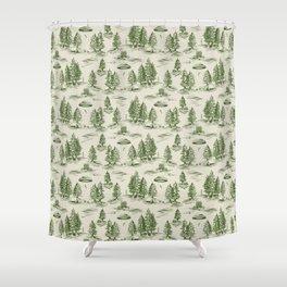 Green Alien Abduction Toile De Jouy Pattern Shower Curtain