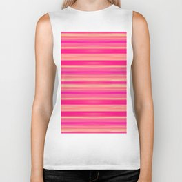 Coral and Pink Brush Stroke Painted Stripes Biker Tank