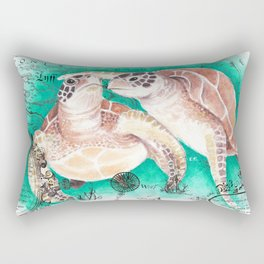 Sea Turtles Vintage Map Rectangular Pillow