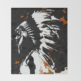 """Native American Indian """"Fearless in Flames"""" Throw Blanket"""