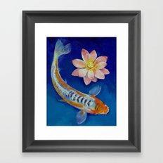 Koi Fish and Lotus Framed Art Print