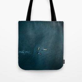 Surfers from Above Tote Bag