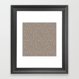 PolkaDots-Peach on Taupe Framed Art Print
