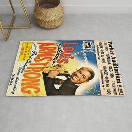 Louis Armstrong Parker Auditorium, Minot, North Dakota Satchmo Jazz Vintage Advertising Concert Poster Rug