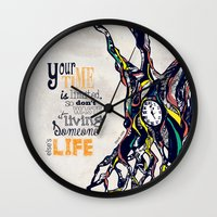steve jobs Wall Clocks featuring Steve Jobs Quote by Katie Melrose