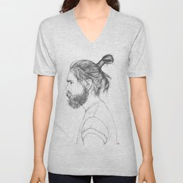 Beard & Top Knot Unisex V-Neck