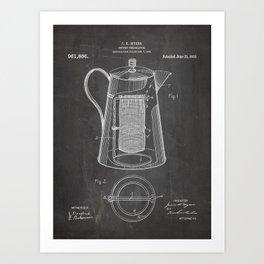 Coffee Percolator Patent - Coffee Shop Art - Black Chalkboard Art Print